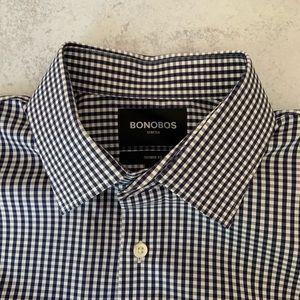 Bonobos Navy Gingham Checkered Button Down Shirt